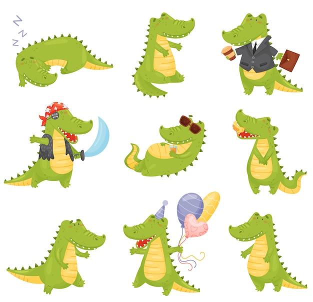Conjunto de crocodilos em diferentes situações