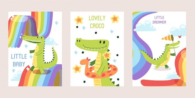 Conjunto de crocodilos engraçados dos desenhos animados, cartões.