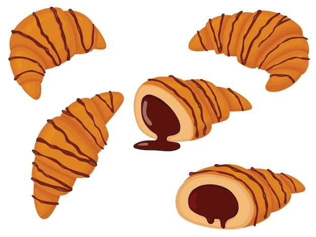 Conjunto de croissant com chocolate. ilustração em vetor de bolos doces