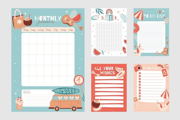 Conjunto de cronograma de modelo de planejador semanal e diário com notas e lista de tarefas com itens de verão