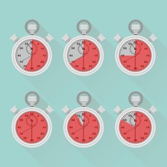 Conjunto de cronômetro, cronômetro, relógio. etiqueta de tempo de cozimento