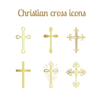 Conjunto de cruz cristã dourada