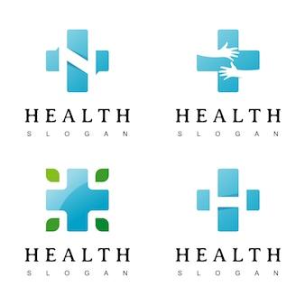 Conjunto de cruz médica e logotipo de farmácia de saúde
