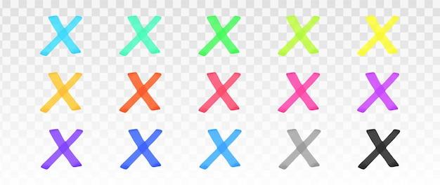 Conjunto de cruzes de marca-texto de cores isolado Vetor Premium