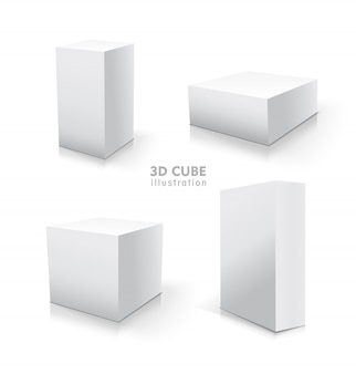 Conjunto de cubo branco. estoque de ilustração 3d.