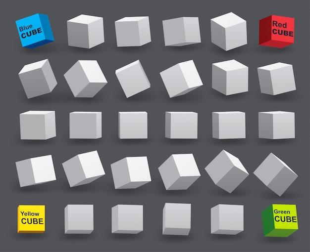 Conjunto de cubos brancos em vários ângulos de inclinação. modelo 3d de formas geométricas.
