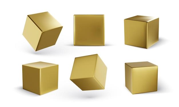 Conjunto de cubos com sombra isolada no branco