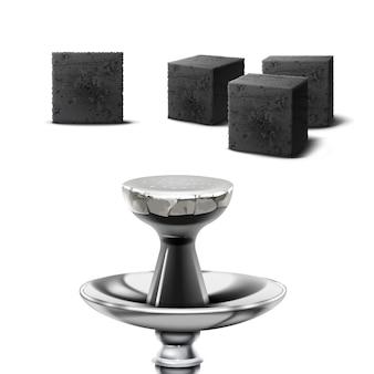 Conjunto de cubos de carvão vegetal para cachimbo de água em diferentes escorços isolados no fundo branco