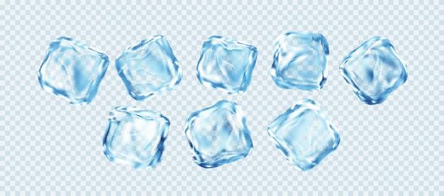 Conjunto de cubos de gelo realistas, isolado no fundo branco transparente. efeito de gelo transparente real. ilustração vetorial eps10