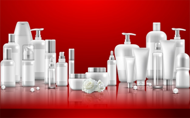 Conjunto de cuidados com a pele n embalagem de produtos de beleza natural