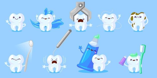 Conjunto de cuidados com os dentes de desenho animado