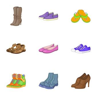 Conjunto de cuidados com os pés, estilo cartoon