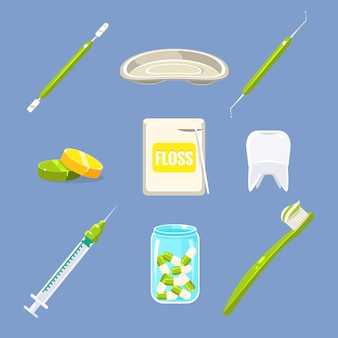 Conjunto de cuidados de dentista e dentes