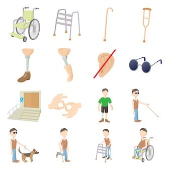 Conjunto de cuidados de pessoas com deficiência em vetor isoladas de estilo dos desenhos animados