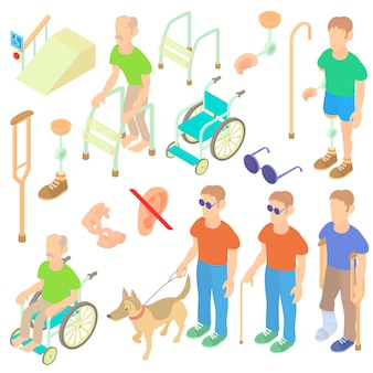 Conjunto de cuidados de pessoas com deficiência isométrica