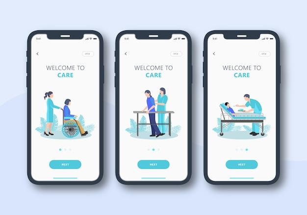 Conjunto de cuidados de saúde de interface do usuário móvel de tela de integração