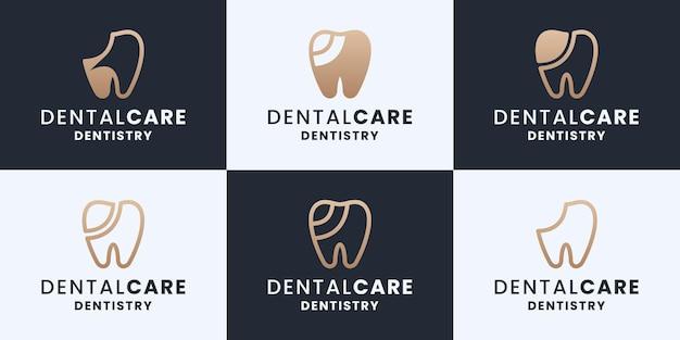Conjunto de cuidados dentários, odontologia, coleções de design de logotipo de clínica odontológica com cor dourada