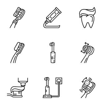 Conjunto de cuidados dente ícone, estilo de estrutura de tópicos