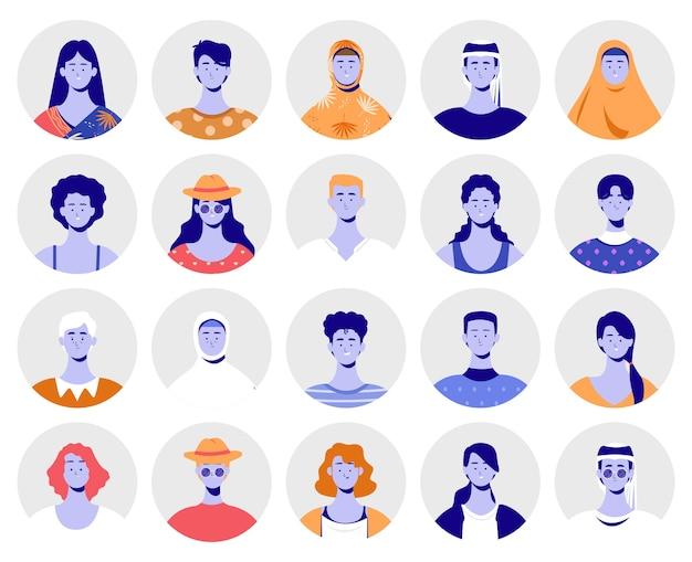 Conjunto de cultura diferente de avatares
