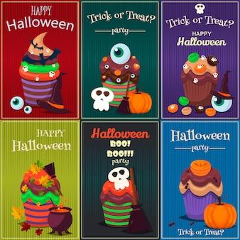 Conjunto de cupcake. cartaz feliz dos doces assustadores de halloween.
