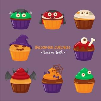 Conjunto de cupcake de halloween fofo