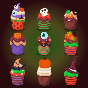 Conjunto de cupcake. doces assustadores felizes de dia das bruxas.