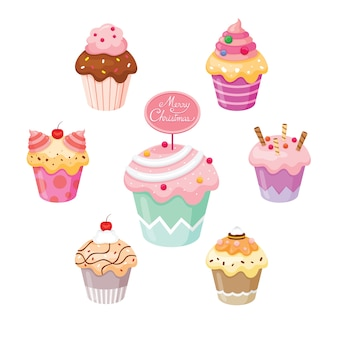 Conjunto de cupcake para o dia e comemorações de natal