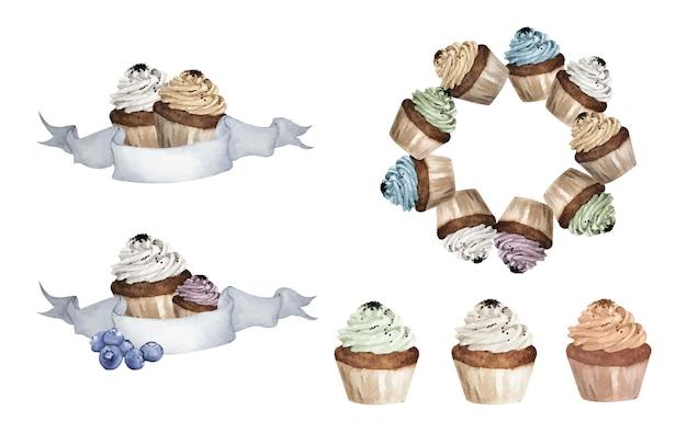 Conjunto de cupcakes coloridos. ilustrações em aquarela.