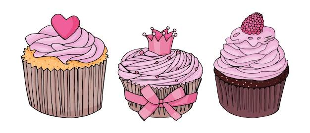 Conjunto de cupcakes. cupcake com creme rosa e coração rosa; cupcake com coroa e laço rosa; bolinho de chocolate com creme rosa e framboesas em um fundo branco