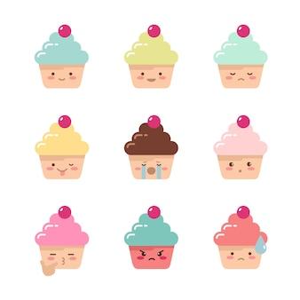 Conjunto de cupcakes de emoções