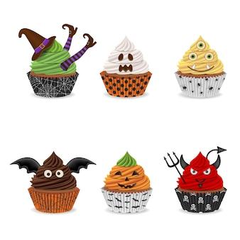 Conjunto de cupcakes de halloween isolados
