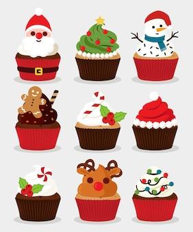 Conjunto de cupcakes de natal