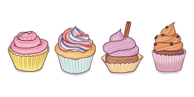 Conjunto de cupcakes desenhados à mão
