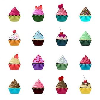 Conjunto de cupcakes e muffins fofos