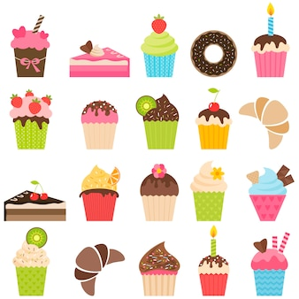 Conjunto de cupcakes e pedaços de bolo