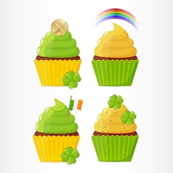 Conjunto de cupcakes festivamente decorados para o dia de saint patricks.