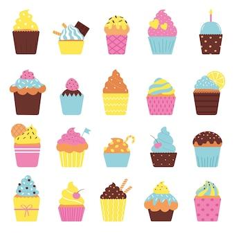 Conjunto de cupcakes fofos isolado no fundo branco. ilustração vetorial em estilo simples.