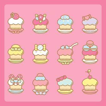Conjunto de cupcakes kawaii