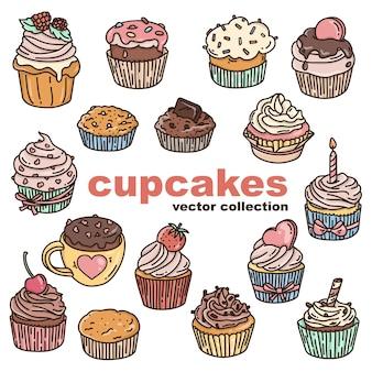 Conjunto de cupcakes no estilo doodle