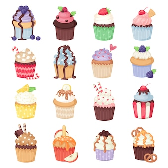 Conjunto de cupcakes vector fofo e muffins isolado no branco