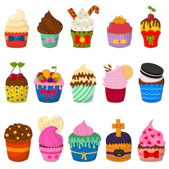 Conjunto de cupcakes vector fofo e muffins isolados