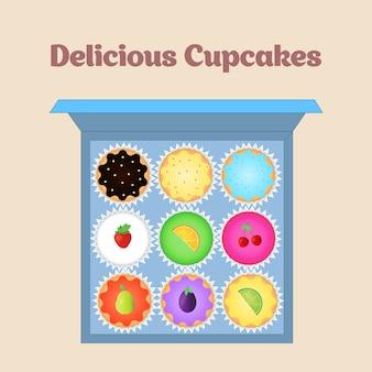 Conjunto de cupcakes vetoriais. top view flat icon