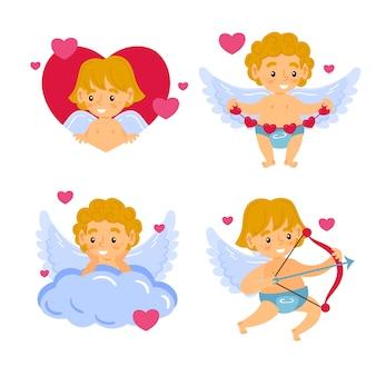 Conjunto de cupido anjo personagem mão desenhada