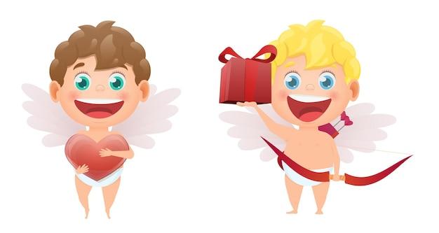 Conjunto de cupidos de anjos para o dia dos namorados