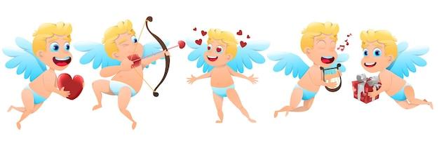 Conjunto de cupidos de dia dos namorados com ilustração de corações