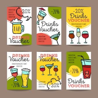 Conjunto de cupons de desconto para bebidas
