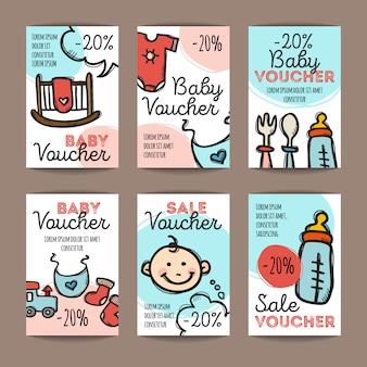 Conjunto de cupons de desconto para produtos de bebê
