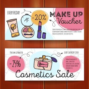 Conjunto de cupons de desconto para produtos de maquiagem