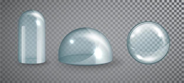 Conjunto de cúpula de vidro transparente. cúpula de cristal de vidro vazia. vetor 3d realista isolado na ilustração de fundo transparente.