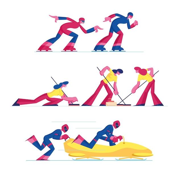 Conjunto de curling, patinação de velocidade e competição de esportes de bobsleigh isolado no fundo branco. ilustração plana dos desenhos animados